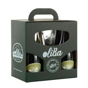 "Oliba Cerveza Artesanal con Olivas ""Sin Glutten""- Craft Green Beer (Caja de 5 uds. + 1 vaso)"